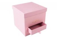 Коробка для цветов Куб с выдвижным ящичком 20.5x20.5x19 розовая