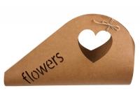 Плайм пакет для цветов 44х29см с ручкой-сердце крафт
