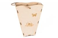 Упаковка для букетов из дерева с бабочками и цветами 13х26х35см