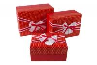 Коробка прямоугольник набор из 3шт. 21x15x10 красная