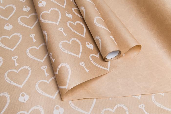 Бумага крафт 40г/м2, 70см x 10м, Ключик к сердцу белый